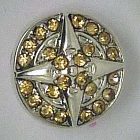 Mini Druckknopf, Stern mit gelb/goldfarben Strass, 13mm