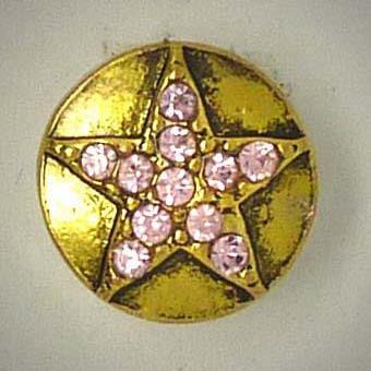 Mini Druckknopf, Stern mit Strass, goldfarben/rosa, 13mm