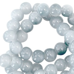 Glasperlen, crackled Opal, Monument grey, 6mm