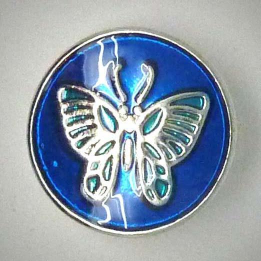 Druckknopf, Schmetterling, blau/silberfarben, 20mm