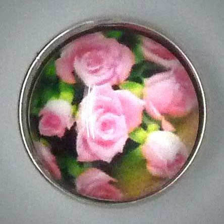 Druckknopf, Rosen, rosa/grün, ca. 18mm