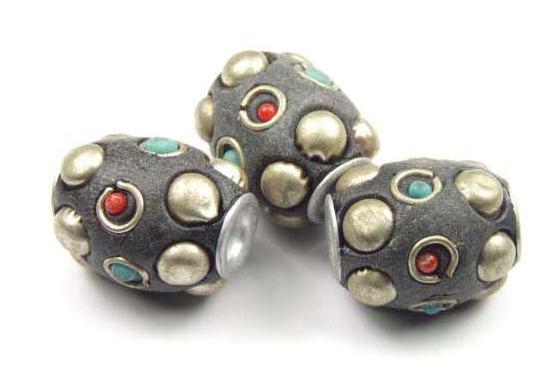 Kashmiri Perle, Tönnchen, schwarz, 15x12mm